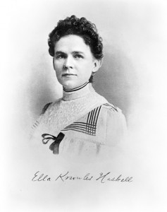 """Sometimes known as the """"Portia of the People,"""" Ella Knowles Haskell was a woman of many Montana firsts, including becoming Montana's first female attorney in 1889. Noted for her oratory skills, Haskell was also active in Populist politics and the women's suffrage campaign. MHS Photo Archives 942-591"""