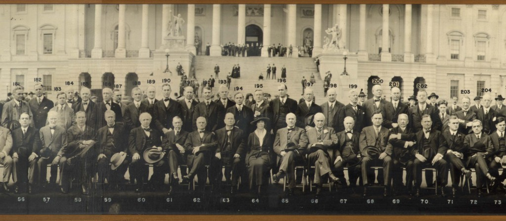 The photographer placed Montana representative Jeannette Rankin squarely in the center of this group portrait of the sixty-fifth U.S. Congress in front of the U.S. Capitol, Washington, D.C., c. 1917. Shown here is only a detail. Click on the image for the entire panorama.