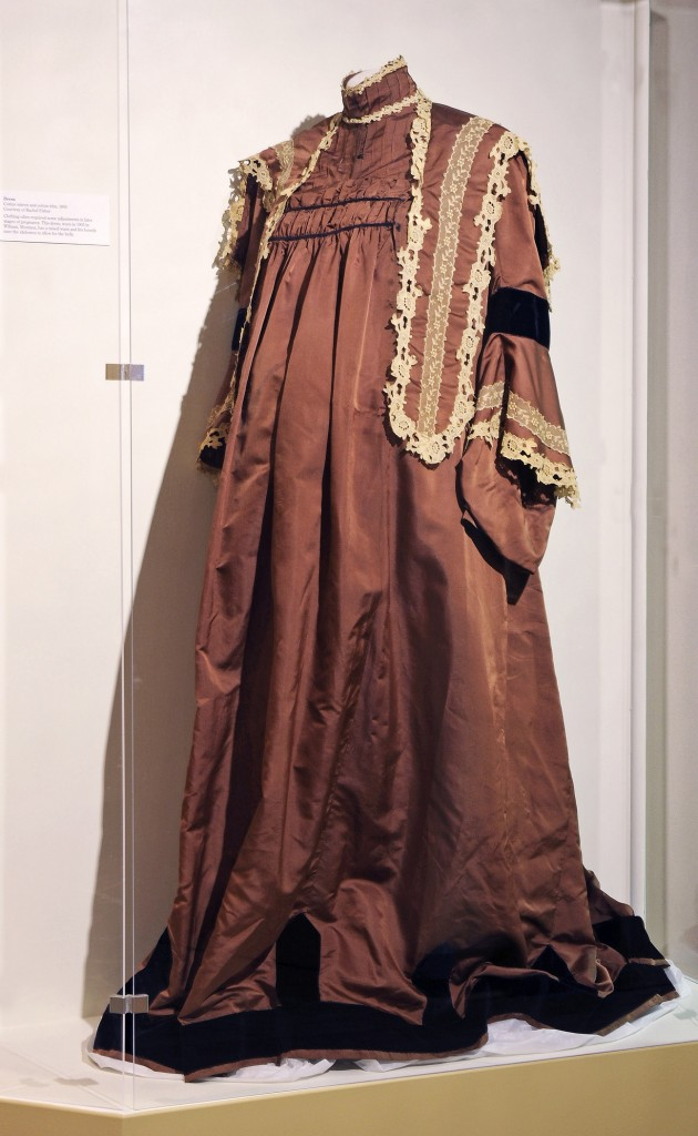 Brown cotton sateen with cotton lace trim maternity dress, worn in Wibaux, Montana, 1905.