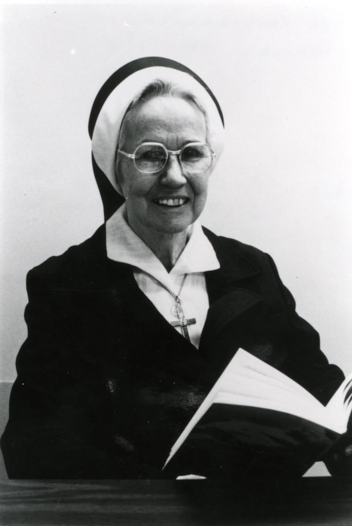 Sister Providencia, 1980, book in hand.