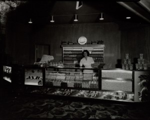 Young woman (and WPU member) behind the candy counter of Butte's Rialto Theatre