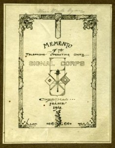 """Cover of a commemorative booklet: """"Memento of the Telephone Operating Units ...  Christmas ... France. 1918"""
