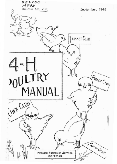 """Cover of the 4-H Poultry Manual, illustrated with chicks holding signs """"Turkey Club,"""" """"Pullet Club,"""" """"Chick Club"""" and """"Capon Club"""""""