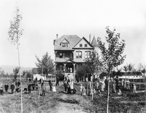 """Children pose in front of """"the Castle"""" in 1896, three years after the Montana State Orphanage was built. Many of them were not true orphans, but from destitute families whose parents could not care for them. MHS Photo Archives 951-328"""